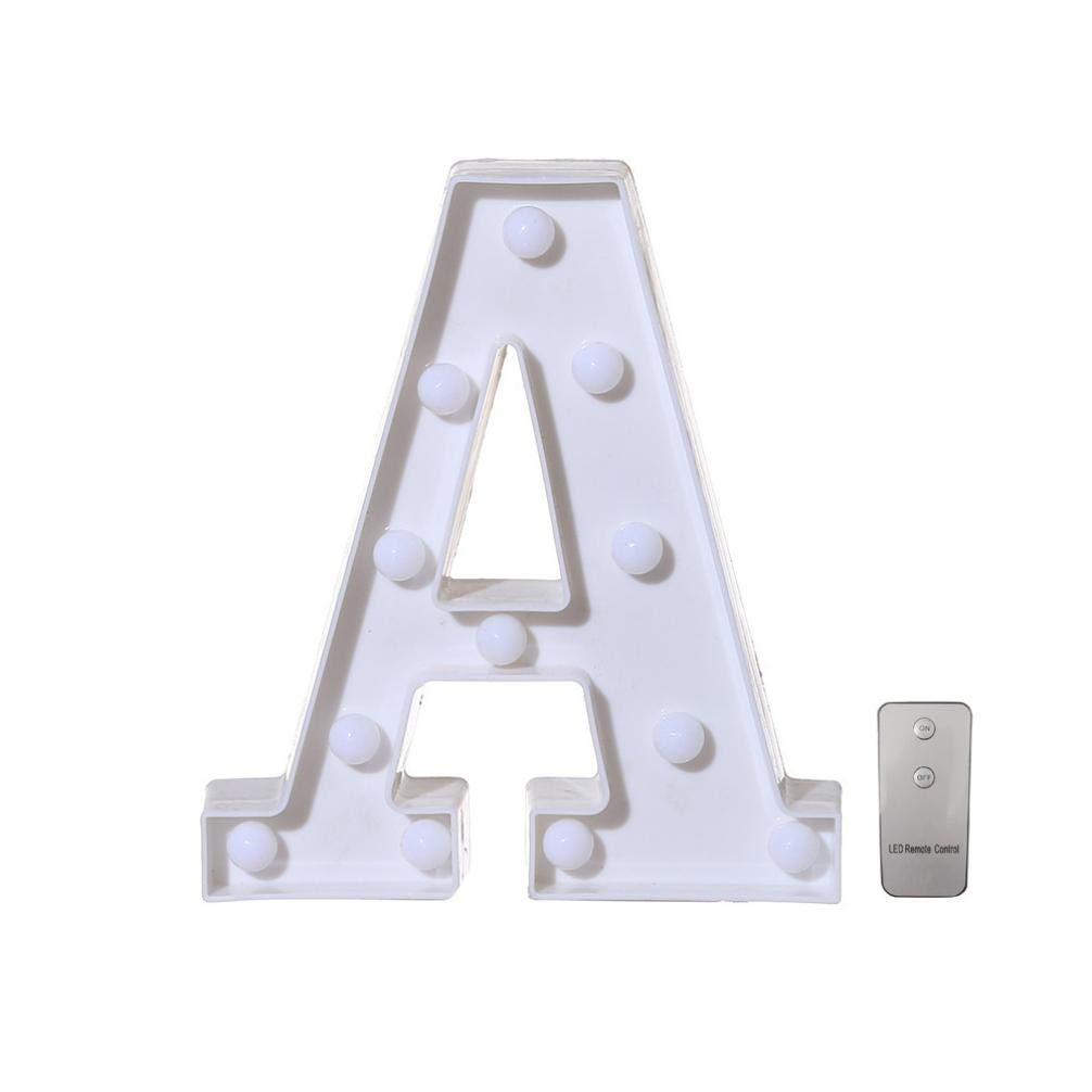TAOtTAO Remote control Alphabet Letter Lights LED Light Up White Plastic Letters Standing T