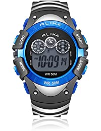 Kids Digital Sport Outdoor Cool LED Fashion Waterproof Wrist Watch with Rubber Band, Electronic Alarm Clock Stopwatch Calendar Date for Children Boy Running, 50M Water Resistant - Blue