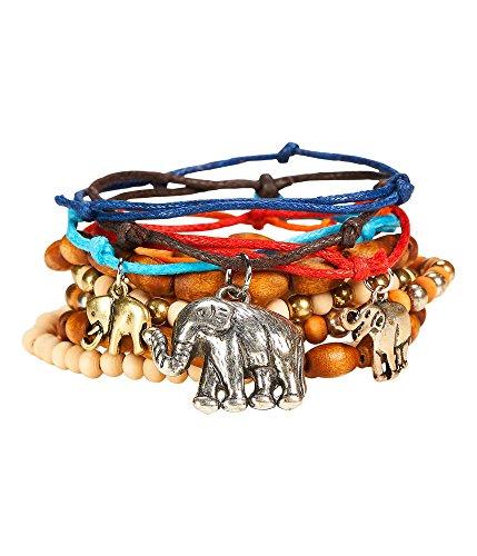 Aeropostale Men's, Women's Elephant Bracelet 10-Pack Gold