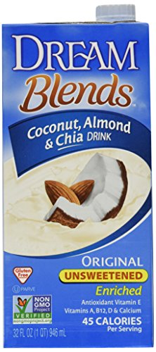 Dream Blends Coconut Almond & Chia Drink Enriched Unsweetened (Non Dairy Beverage & Gluten Free) Buy Six Packages And Save Each Package Is 32 Fl Oz (Pack Of 6) by Imagine Foods