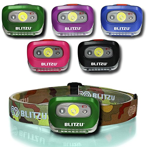 Blitzu i2 Waterproof LED Headlamp with Red Light, Camouflage