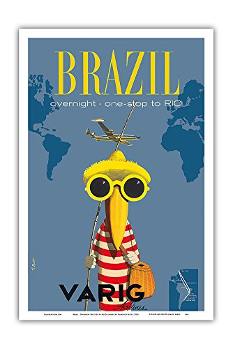 Varig Airlines - Brazil - Overnight One Stop to Rio De Janeiro - Varig Airlines - Lockheed Super G Constellation - Vintage Airline Travel Poster by Francesco Petit c.1950s - Master Art Print - 12in x 18in