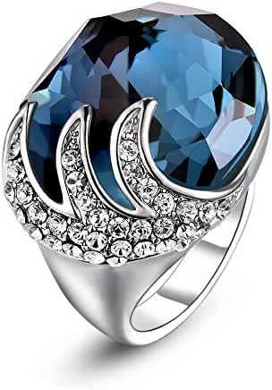 Mytys Amazing 18K White Gold Plated Montana Crystal Enagement Cooktail Ring
