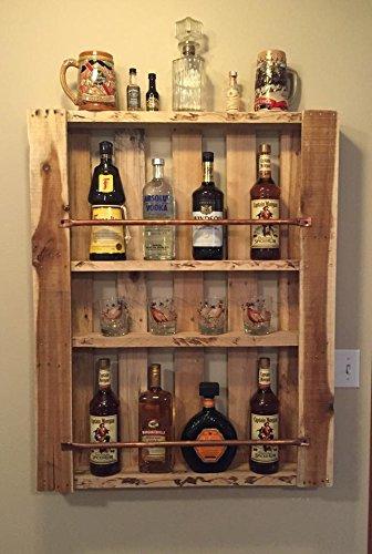 Rustic Pallet Furniture Wood Wall Shelf Liquor Cabinet Liquor Bottle  Display Home Bar Mini Bar