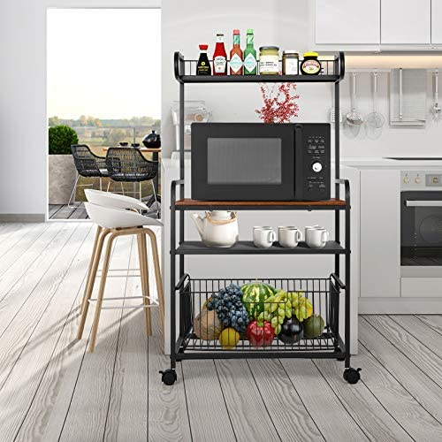 amzdeal 4-Tier Kitchen Baker's Rack, Rolling Kitchen Utility Cart, Microwave Oven Stand Storage Cart, Industrial Serving Cart on Wheels with Pull-Out Basket and a pair of Lockable Wheels - Rustic Brown