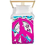 Twin Duvet Cover Peace Symbol Sign Splatter Neon