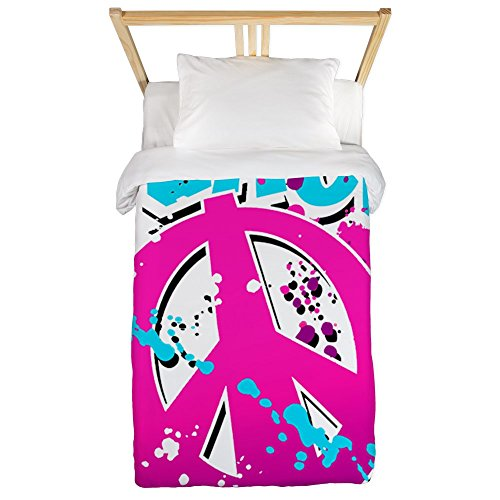 Twin Duvet Cover Peace Symbol Sign Splatter Neon by Royal Lion