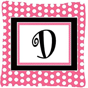 Monograma D color rosa lunares negro decorativo tela almohada CJ1001