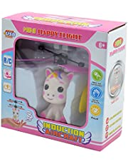 Kögler 54517 Mini-flyer eenhoorn met afstandsbediening en USB-kabel, vliegende eenhoorn met led-lichteffect en propeller, handbediend, ideaal cadeau voor kinderen, meisjes vanaf 6 jaar