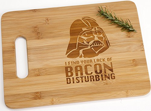 Darth Vader I Find Your Lack Of Bacon Disturbing Engraved Bamboo Wood Cutting Board with Handle Star Wars Gift ()