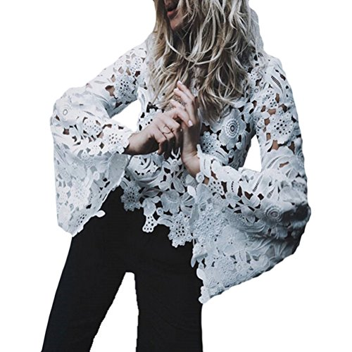 - Momtuesdays2 Women's Sexy Lace See Through Blouse Bell Long Sleeve Top (White, M)
