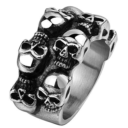 Psrings Famous S Pirate Skull Rings Cool Sons Anarchy Death Skull Ring 316L Stainless Steel Grim Raper Skull Ring 9 0