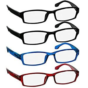 Reading Glasses Best 4 Pack 2 Black Red Blue for Men and Women Have a Stylish Look & Crystal Clear Vision When You Need It!_Comfort Spring Arms & Dura-Tight Screws_100% Guarantee +5.00