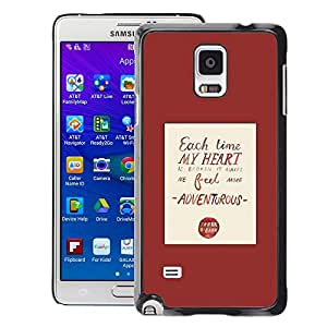Planetar® ( Heart Love Quote Red Poster Text ) Samsung Galaxy Note 4 IV / SM-N910 Fundas Cover Cubre Hard Case Cover