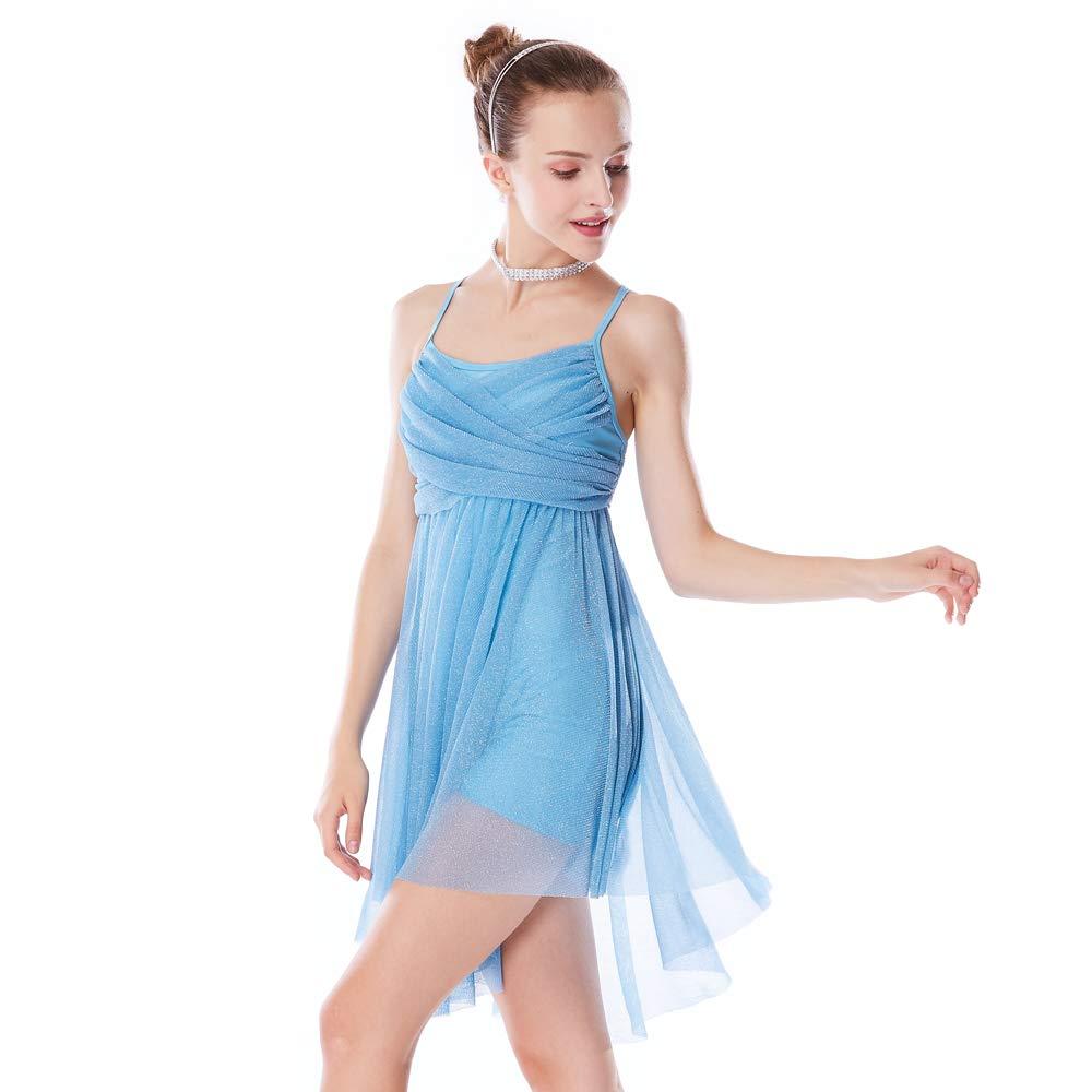 295ee13e75c76 MiDee Glitter Lyrical Dress Contemporary Dance Costume Crossing Pleated
