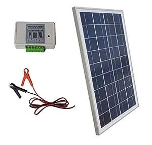 ECO-WORTHY 12V 25Watts kits Solar: 1pieza 25W policristal PV Panel Solar módulo con 3pies batería de alambre + 30A Clips con 6pies Cable alargador + 3A 12V/24V Solar controlador