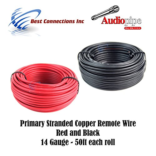 14 GAUGE WIRE RED & BLACK POWER GROUND 50 FT EACH PRIMARY STRANDED COPPER (Electric Wire)