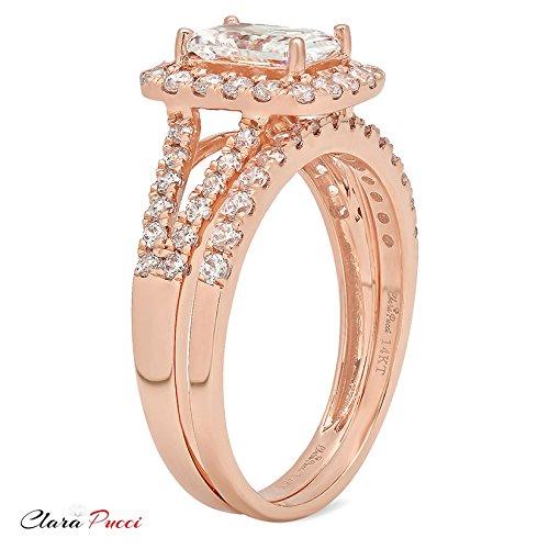 Clara Pucci 1.5 CT Emerald Cut Pave Halo Bridal Engagement Wedding Ring band set 14k Rose Gold, Size 8.5 by Clara Pucci (Image #2)