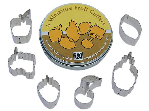 R&M International 1993 Mini Fruit Cookie Cutters, Apple, Grapes, Strawberry, Cherry, Pineapple, Lemon, 6-Piece Set in Gift Tin