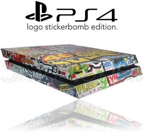 Sony Playstation 4 PS4 Logo Stickerbomb Abrigo De Piel Cubierta De Etiqueta: Amazon.es: Videojuegos