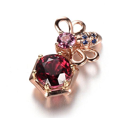 Hutang 1.83CT Or rose 18carats massif naturel Rhodolite Grenat et saphir Pendentif et collier NEUF pour femme Pierre précieuse fine bijoux