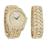 Iced Out Watch with Diamond Face & Matching Bling Bling-ed Out Bracelet Gift Set (Gold)