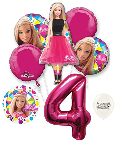 4th Birthday Barbie Party Decorations Balloon Bouquet ()