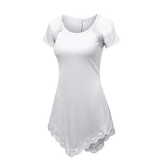 df5d72d4410643 BAOHOKE Women s Lace Panel Short Sleeve