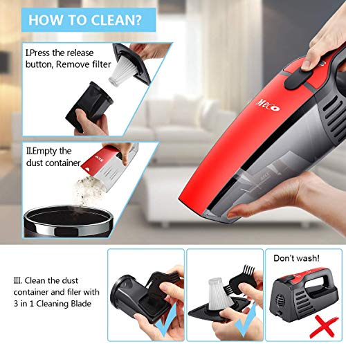Carrying Bag Included for Car Home Pet Hair Handheld Vacuum Cordless Dual Filter MECO Cordless Vacuum Rechargeable Wet and Dry 800ml Dust Box Two Speeds Adjustable