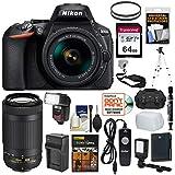 Nikon D5600 Wi-Fi Digital SLR Camera with 18-55mm VR & 70-300mm DX AF-P Lenses + 64GB Card + Case + Flash + Video Light + Battery/Charger + Tripod Kit