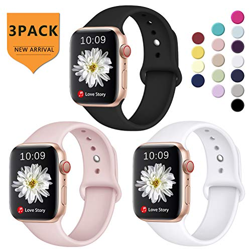 DGege Compatible with Apple Watch Band 42mm 44mm for Women Men, Small/Medium, Black/White/Pink, Silicone Sport Replacement Band Compatible with Apple Watch Series 3, Series 4, Series 2, Series 1 ()