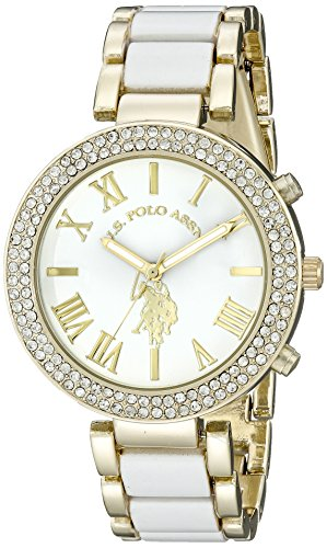 U.S. Polo Assn. Womens USC40065 Gold-Tone and White Bracelet Watch