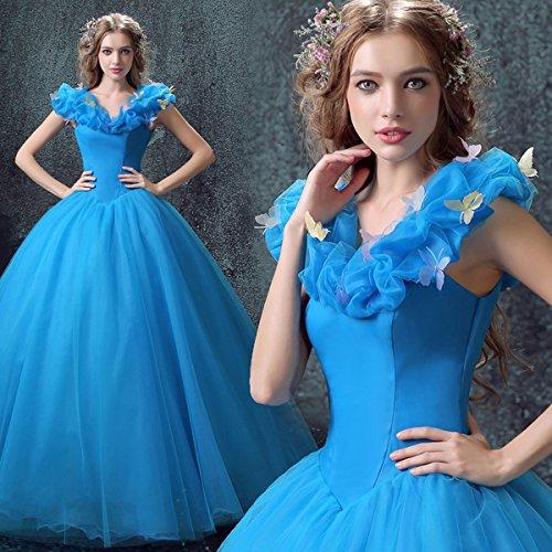 ブルードレス ワンピース プリンセス シンデレラ コスプレ コスプレ衣装 ブルー ウェディングドレス イベントパーティー コスチューム 舞踏会 演奏会 披露宴ドレス 小さいサイズ 大きいサイズ (S) B07JJKH2Z1  XS XS