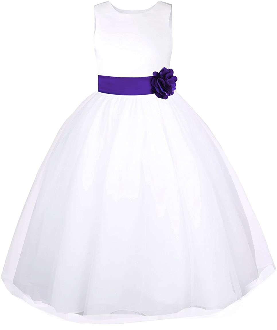 Bow and Flower Black n Bianco Tulle Flower Girl Dress White w//Colored Sash