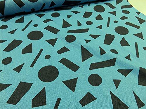 北欧風 丸と四角と三角2 ブルー オックス生地 |北欧風 丸と四角と三角2 モノトーン オックス生地の商品画像