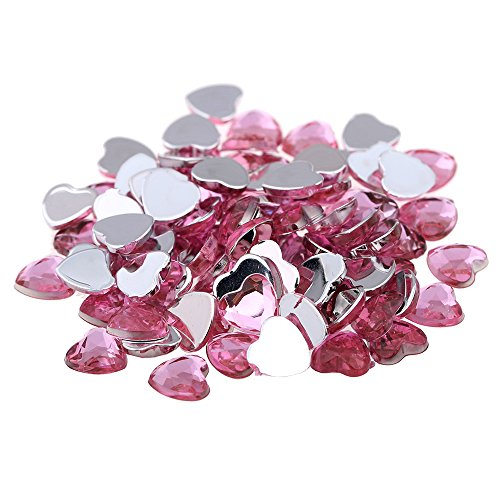 Nizi Jewelry Light Pink Color Heart Shape Acrylic Rhinestones Flatback Flat Faceted Strass Gems 3D Nail Art Decorations 6MM 100PCS