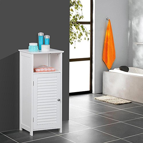 Topeakmart Free Standing Bathroom Storage Cabinet Louvered Door Open Cubby Adjustable Shelf White