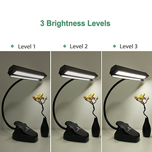 Glorious-LITE 14 LED Music Stand Lights, 3 Levels Brightness Book Reading Lights, Rechargeable Clip Light, Full Charged for 11-Hour Using for Piano, Travel, Desk and Bed Headboard by GLORIOUS-LITE (Image #1)