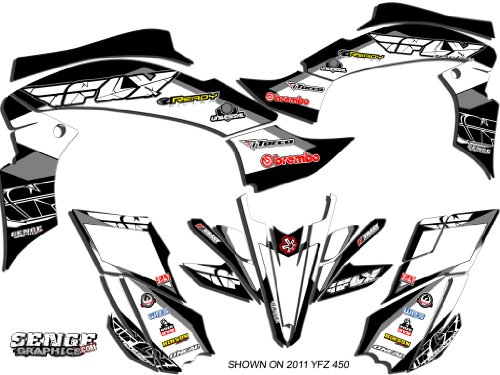 Senge Graphics 2003-2008 Yamaha YFZ 450 (Steel Frame), 13 Fly Racing Black Graphics Kit