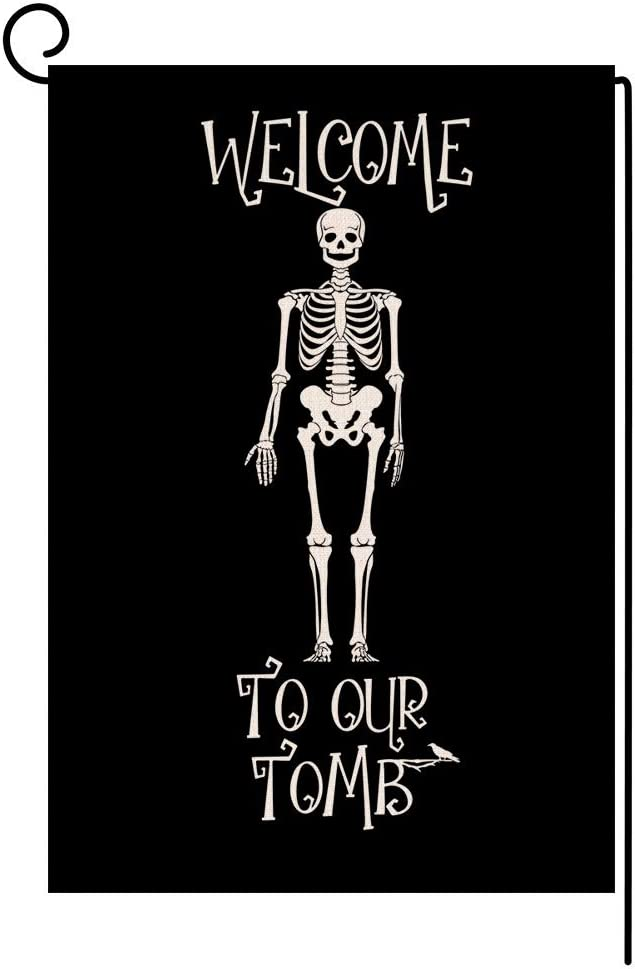 Fall Halloween Skull Garden Flag Vertical Double Sided Scary Black Burlap Yard Outdoor Decor 12.5 x 18 Inches (Welcome to Our Tomb)