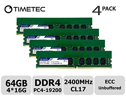 Timetec Hynix IC 64GB KIT (4x16GB) DDR4 2400MHz PC4-19200 Unbuffered ECC 1.2V CL17 2Rx8 Dual Rank 288 Pin UDIMM Server Memory RAM Module Upgrade (64GB KIT (4x16GB))