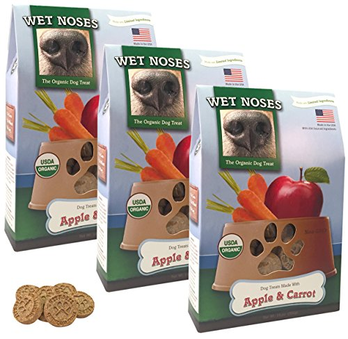 Wet Noses Organic Usa Made All Natural Dog Treats, Apples & Carrots, 3 Pack