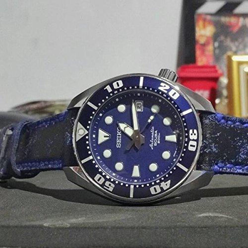 Custom 22mm Handmade Premium Calf Leather Watch Band Gunny Straps - Blue Blackbay by Gunny Store