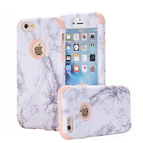(iPhone 6 Case, iPhone 6s Case, ZAOX [Marble Pattern] Hybrid Dual Layer [Hard PC outer + Soft Silicone inner] Bumper Protective Shock-Absorption & Anti-Scratch Case For iPhone 6/6s (Rose Gold))