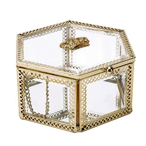 Hexagonal Clear Glass & Brass Metal Hinged Top Lid Plant Terrarium Box / Tabletop Display - Hexagon Clear Glasses