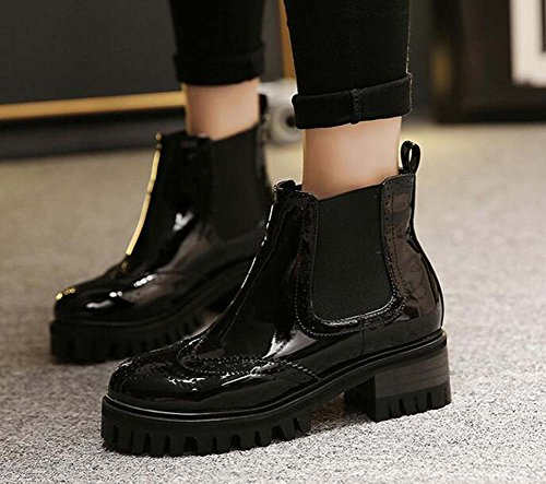 Bullock Band Size 5cm Elastic Women 40 34 Handsome Retro Toe Boots 5cm Platform Mirror Chunkly Knight Boots Waterproof 2 Boots Round Chelsea Martin black Carved Eu Tw1Zqdw