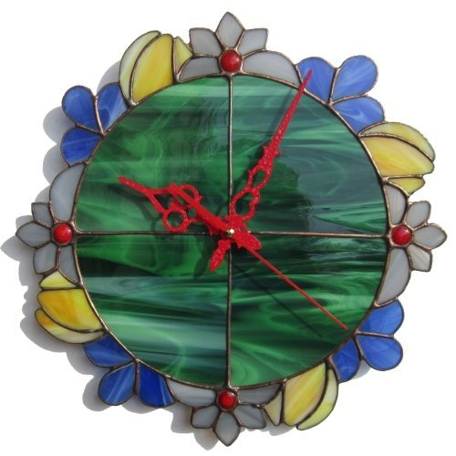 Summer flower wreath wall clock made of stained glass