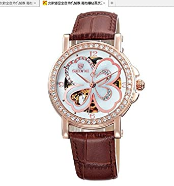 Female hollow automatic mechanical watch high-grade diamond leather quality waterproof watch Lady Lady clover