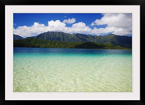 GreatBIGCanvas ''Hawaii, Oahu, Kaneohe Bay and Windward Coast As Seen From The Sandbar'' by Tomas Del Amo Photographic Print with Black Frame, 36'' x 24'' by greatBIGcanvas