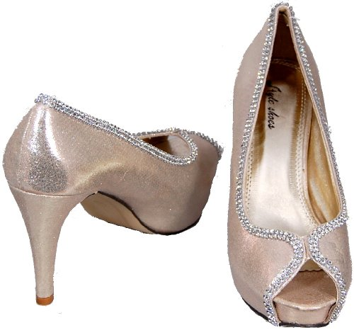 Satin Height Look Gold In Toe Without Metallic Pain Collections Platform From Peep Diamante For Trim Shoe Niche With Finish Court Internal Dazzling The Extra FY0aq5